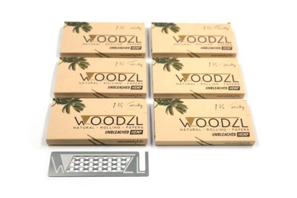 Woodzl 1 1/4 Sticky Papers, ungebleicht, im 6er Set mit Grinderkarte